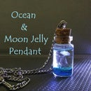 Ocean in a Bottle With Moon Jellyfish Pendant
