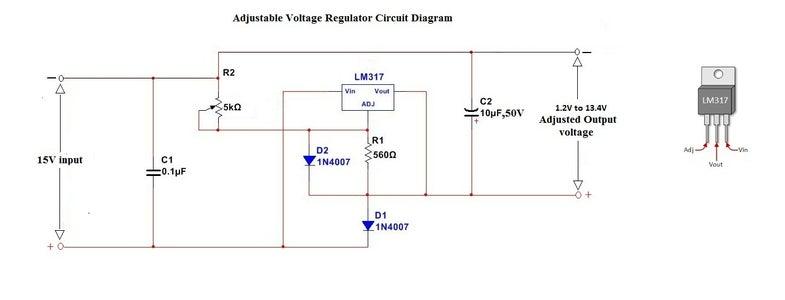 Schematic Diagram of Adjustable Voltage Regulator.