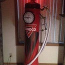 VINTAGE STYLE CLOCKFACE GAS PUMP MADE FROM SCRAP PVC PIPE