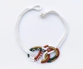 五颜六色的包裹的绳索宏夹克项链