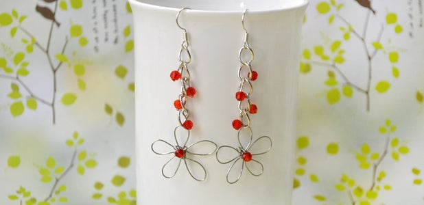 Wire Wrapped Patterns on How to Make Wire Flower Earrings With Red Crystal
