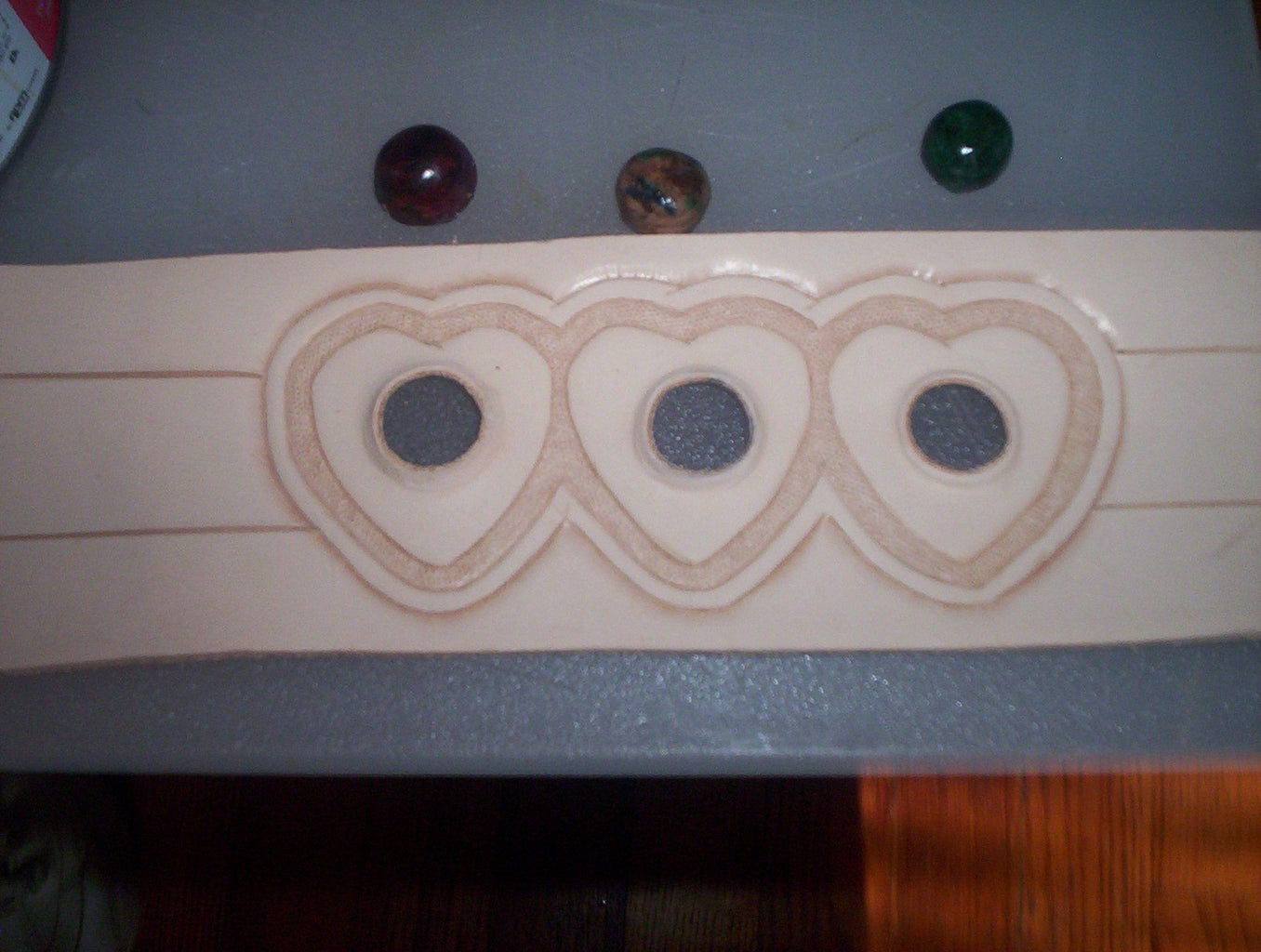 Leather Heart Bracelet With Inlaid Leather Stones