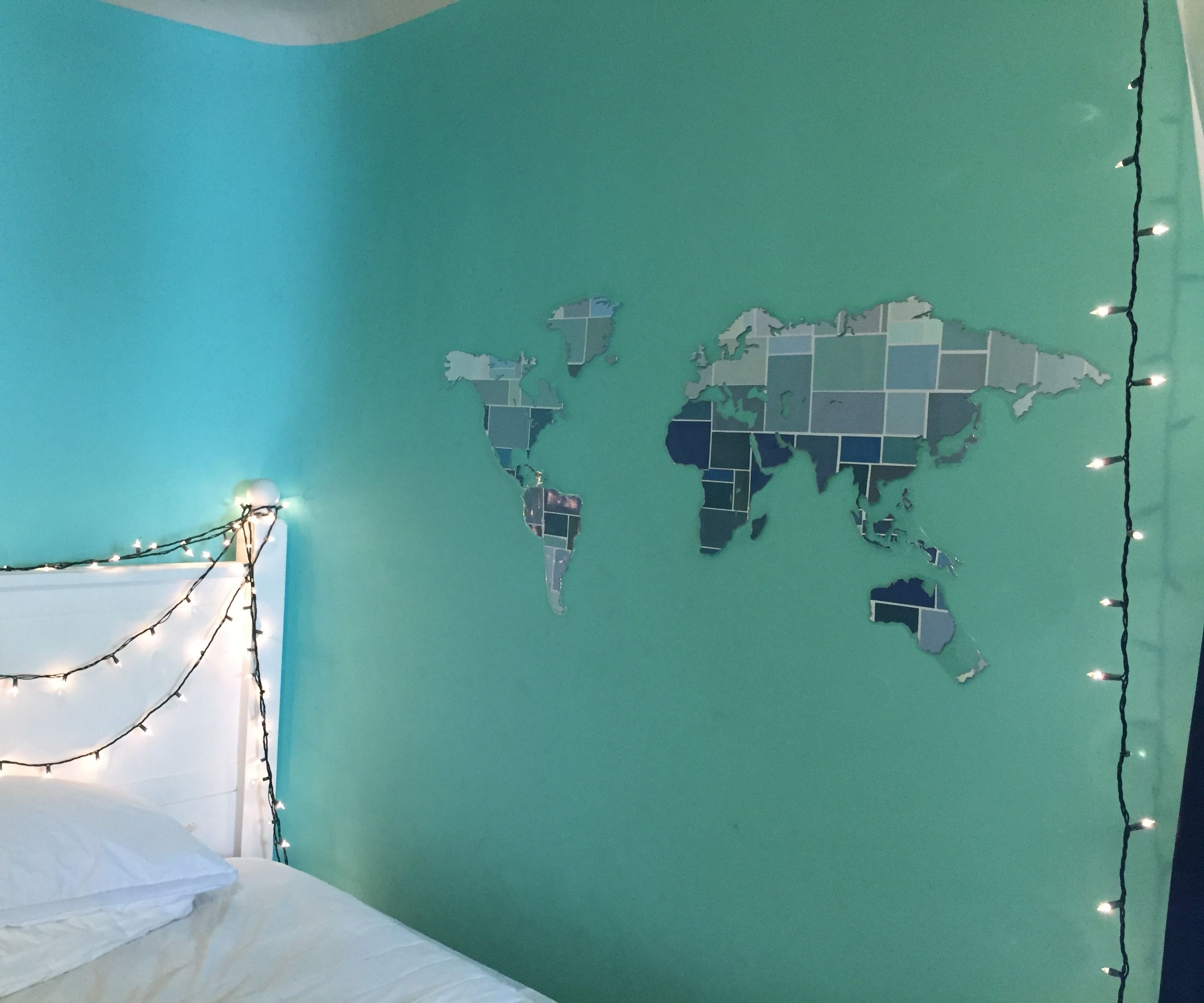 World Map Decal From Paint Chips for Free!!