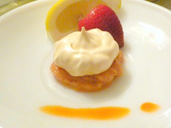 Meringue and Strawberry-Lemon Hot Sauce Custard