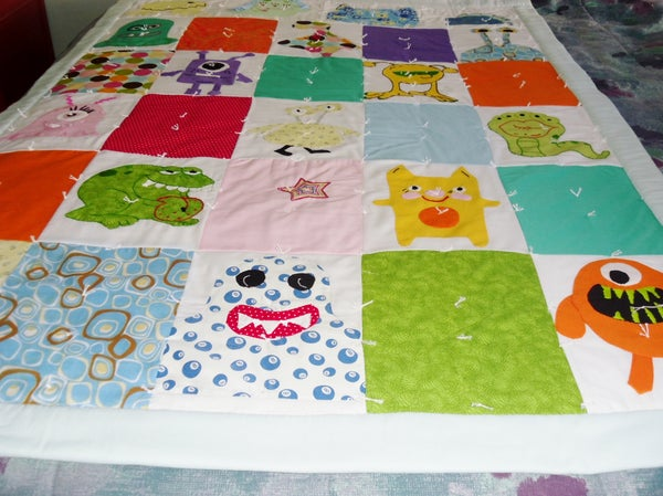 Applique & Embroidered Monster Quilt