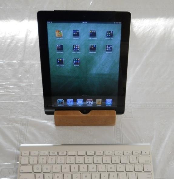 Cherry Wood iPad Docking Stand