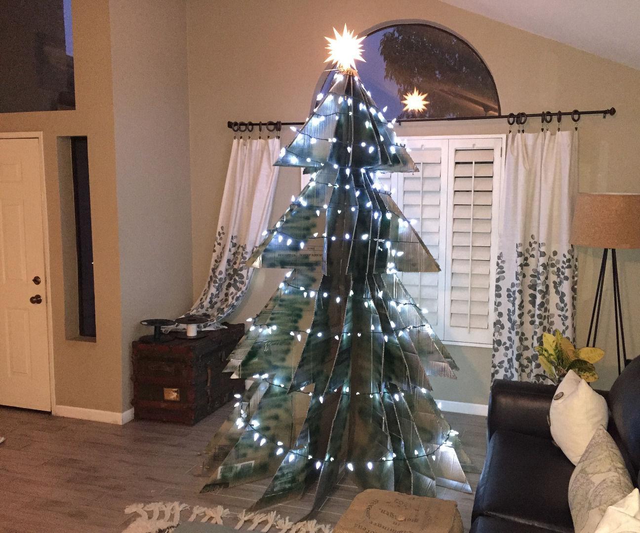 Salvaged Cardboard Christmas Tree