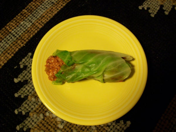 Vegetarian Chili Cabbage Wrap Thing.......?