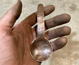 Hammered Copper Spoon With Simple Tools and Materials