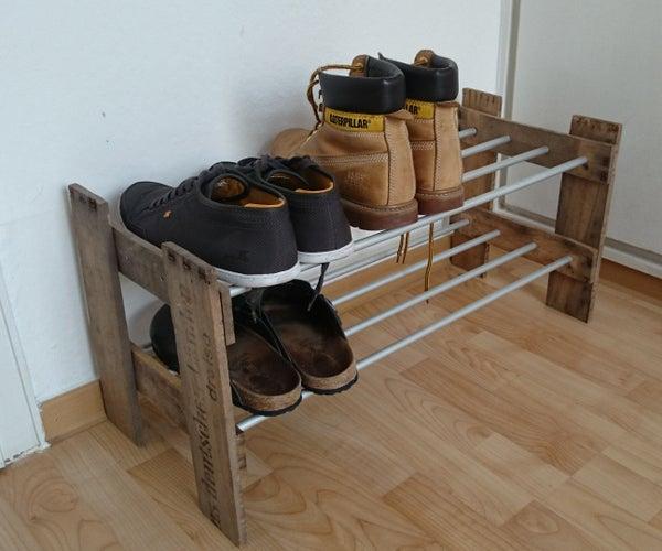 Shoe Shelf - Out of a Wine Box