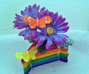 Popsicle Stick Flower Vase - Rainbow