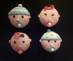 'Sweet Cheeks' - Baby Face Mini Cupcakes Using Marshmallow Fondant.