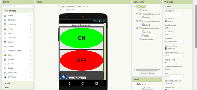 Making the App to Control the Fan.