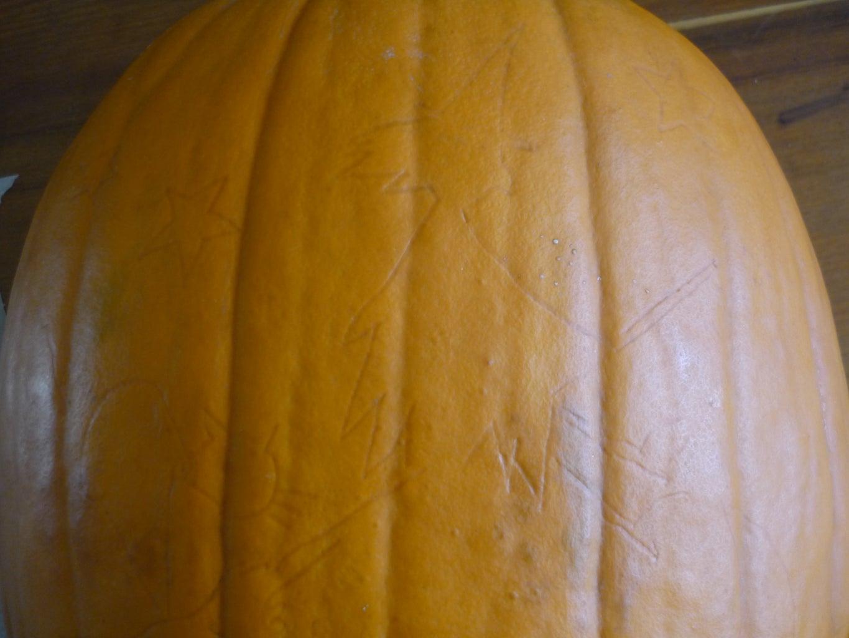 Transferring Image Onto the Pumpkins
