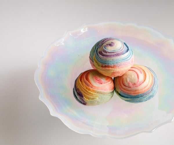 Rainbow Puff Balls With Coconut Filling