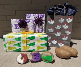 Potato Stamping: Homemade Gift Wrapping Paper