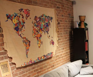 Hand Painted World Maps (6ft X 3ft)