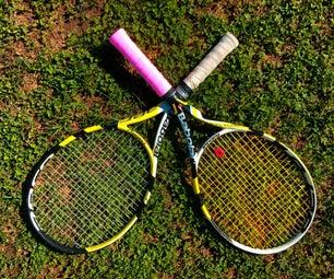 在网球拍上包裹过度