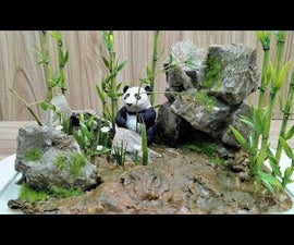 DIY Giant Panda in Bamboo Forest, Realistic Diorama.