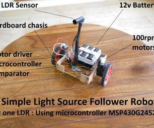 Simplest Light-Source Follower Robot