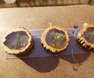 Walnut and Resin Pendants