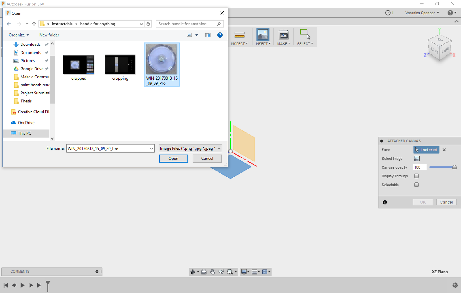 Import Images Into Fusion 360.