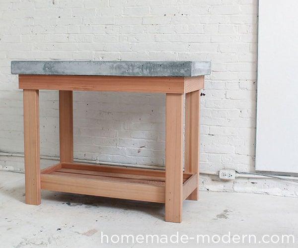 HomeMade Modern DIY Wood + Concrete Kitchen Island