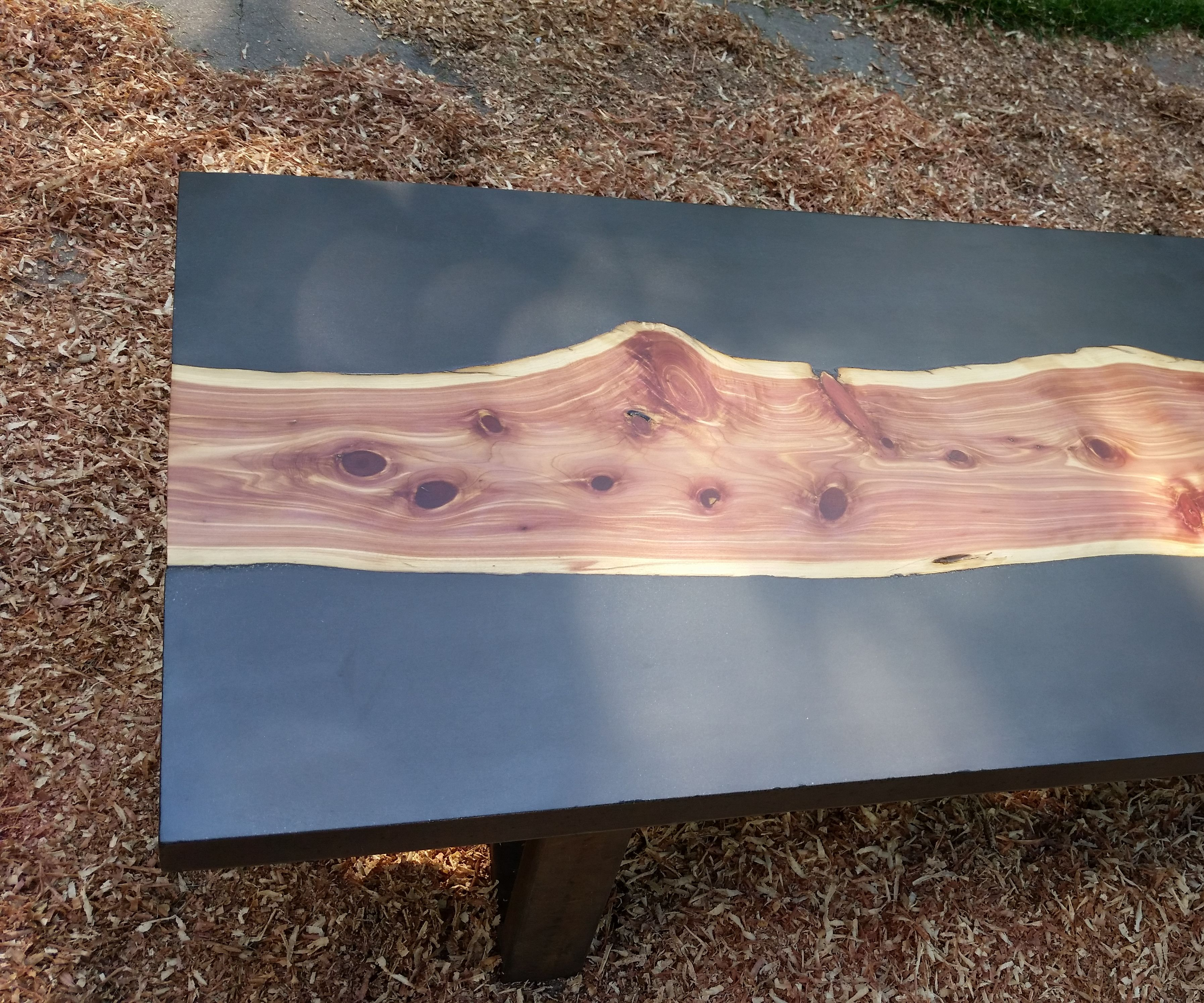 Concrete and Wood Slab Table