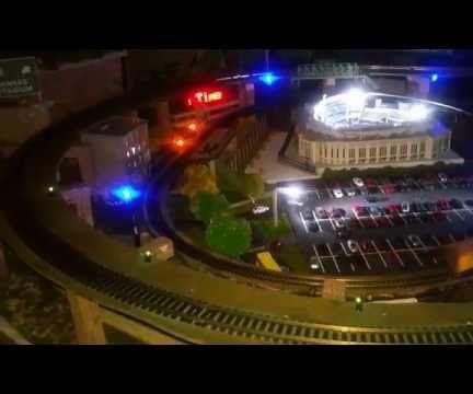 LED Yankee Stadium Night Game Re-Creation w/ City, Trains, Subway and LED Skyline
