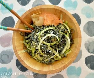 Vegan Spirulina Spaghetti With Zucchini Swirls