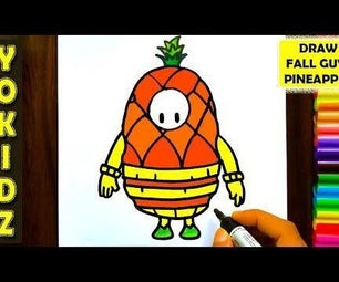 HOW TO DRAW FALL GUYS PINEAPPLE