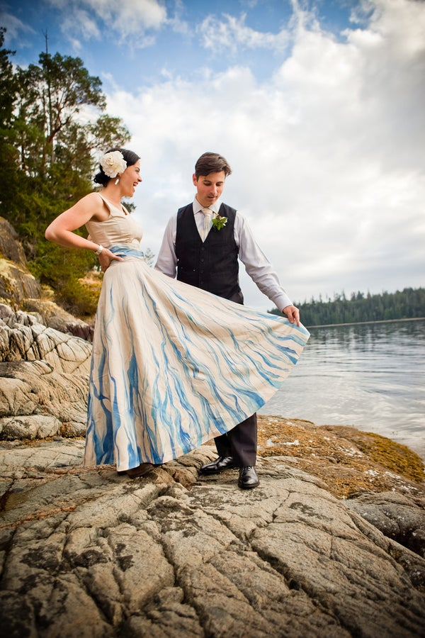 Handpainted, Upcycled Wedding Dress
