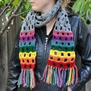 Rainbow Ends Crochet Scarf