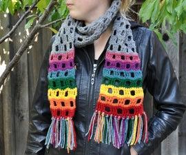 Rainbow Ends Crochet Scarf