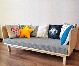 Small and Cute, HomeMade Modern DIY Sofa | Minimum Tools