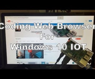Coding Web Browser for Windows 10 IOT on Raspberry PI 2