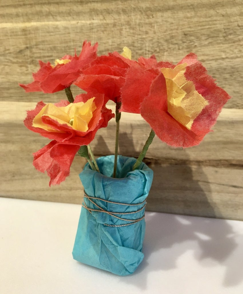 Easy Tissue Paper Flowers With Vase (Made by My Daughter, Age 9)