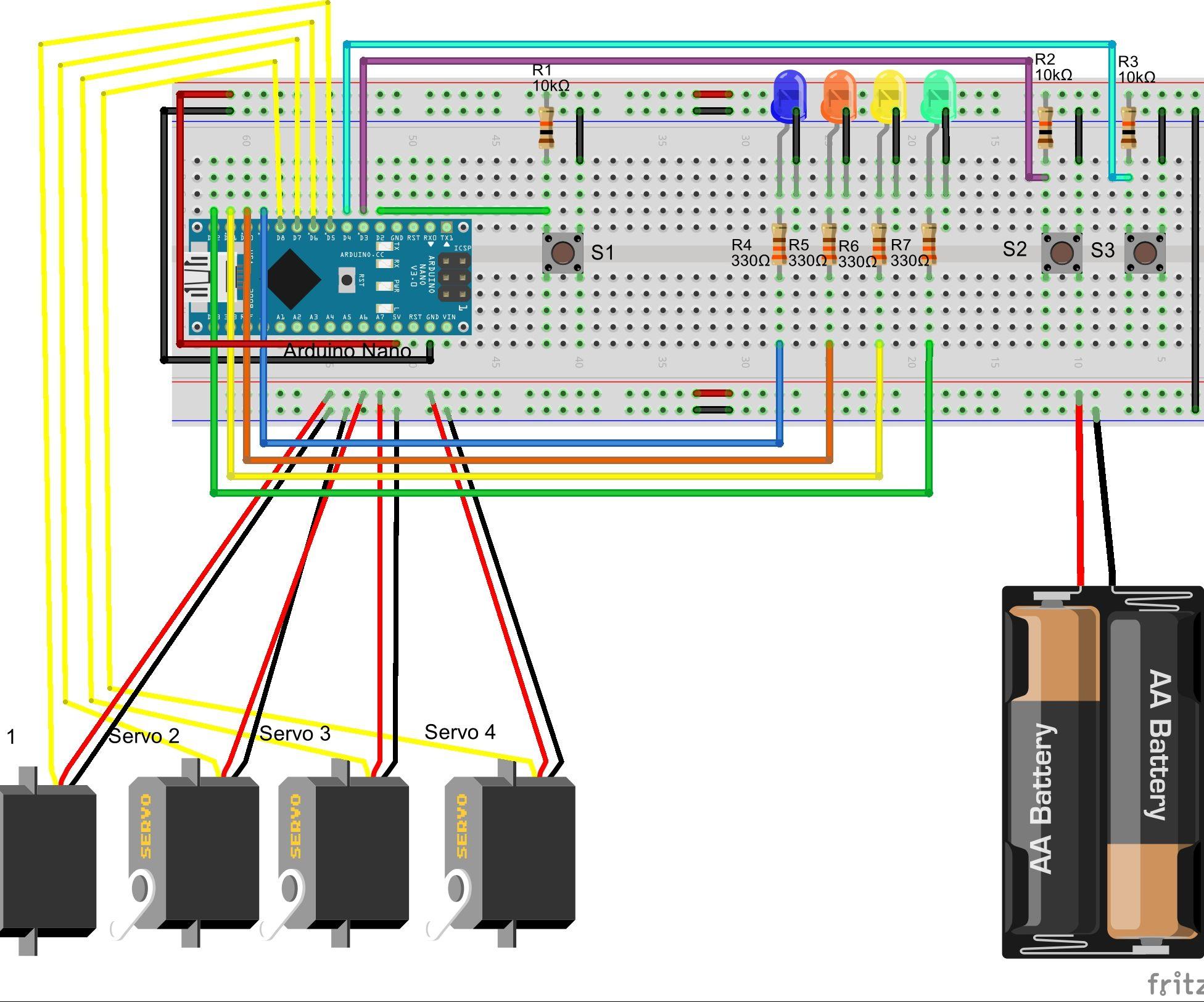 Simple 3 button controller for a 4 axis robot arm