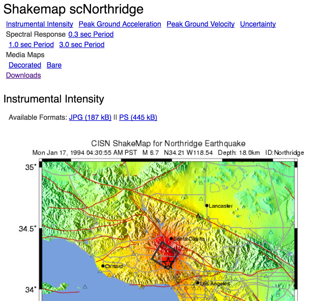 Download a Shake Map From the USGS