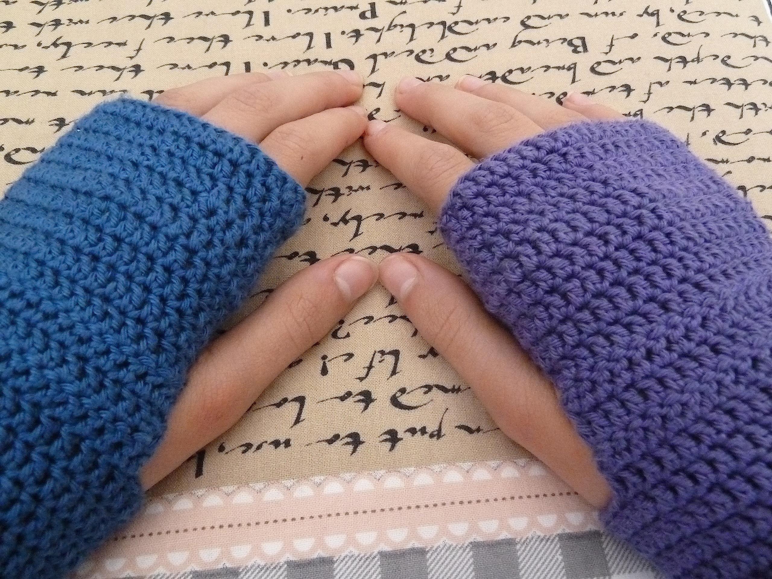 Fingerless crochet mittens