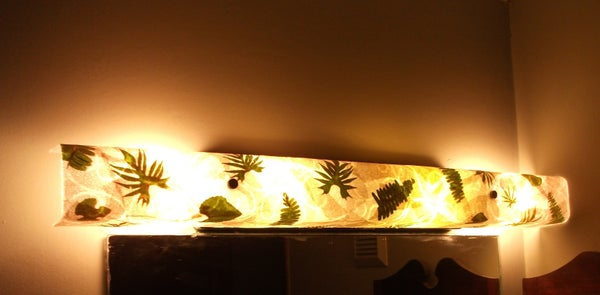 Refurbish Vanity Bathroom Light With Paper Coffee Filters, Leaves and Ferns!