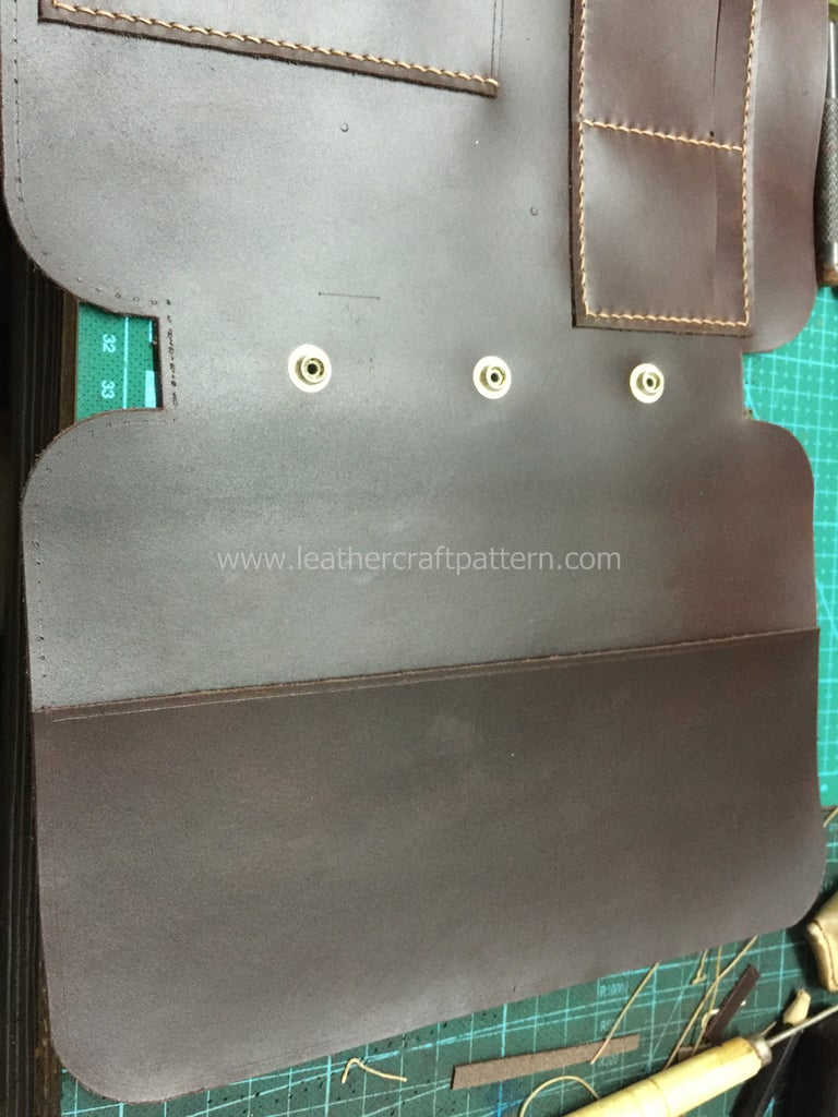 Now We Do the Same As the Other Piece, Sew Small Pockets On, Glue Notebook Slot on Don't Sew, Also Don't Sew the Left Side of Phone Slot (we Will Sew Then With Surface Leather Together at the Last Step).
