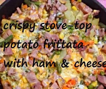 Crispy Stove-top Potato Frittata With Ham and Cheese