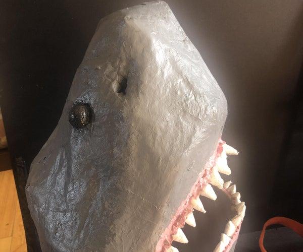 Papier Mache Shark Head Prop for Costume