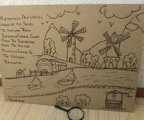 """Abundant Resources"" - My Solar Pyrography Art"