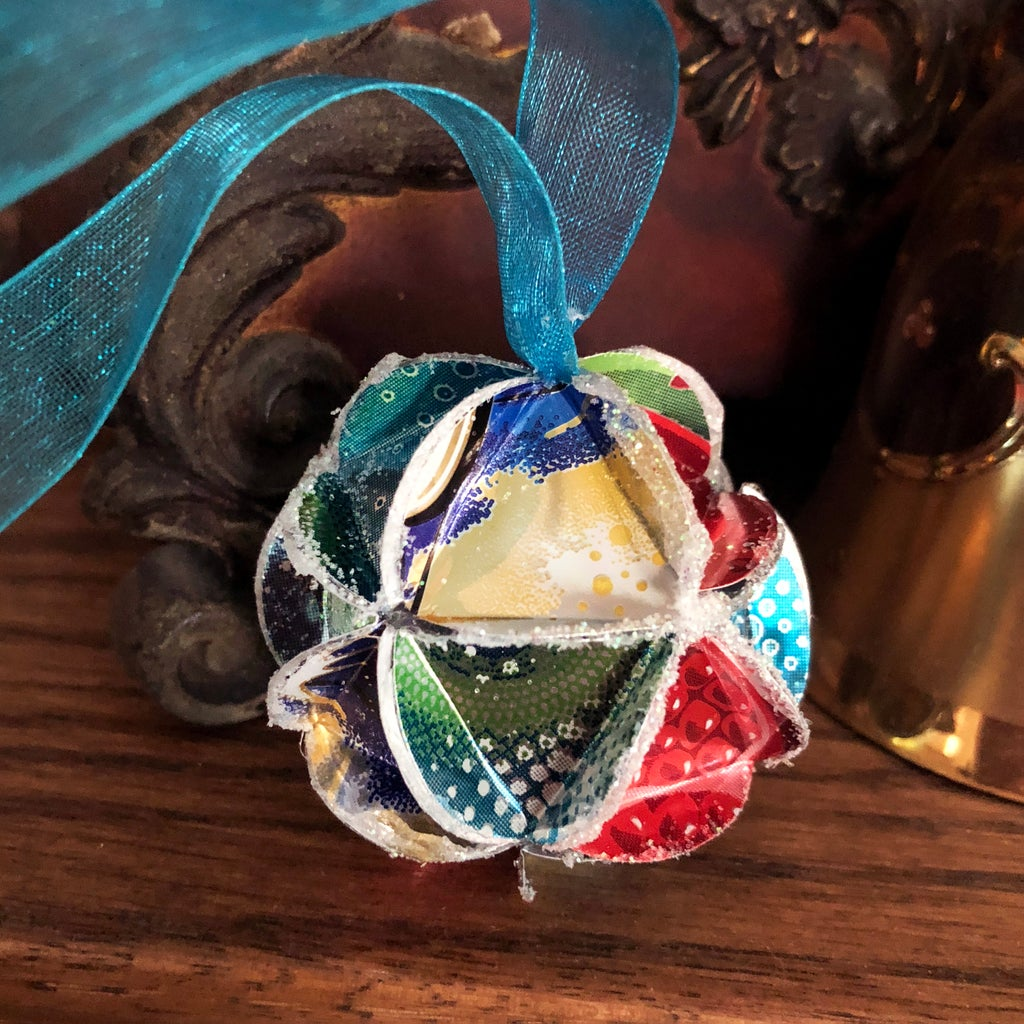 Recycled Can Icosahedron Ornament
