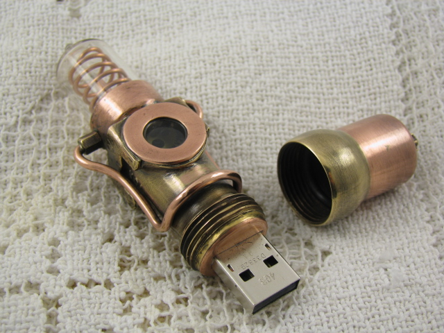 "Steampunk USB drive, Handmade ""Submariner"" altered art"