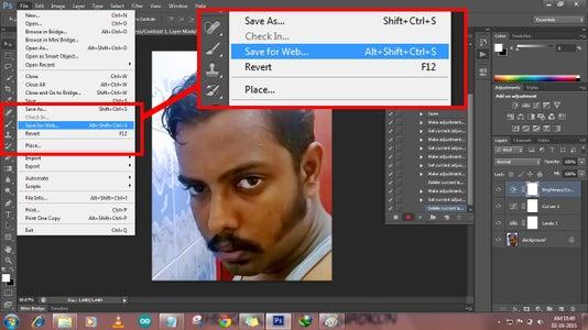 Click File→Save for Web or Press(Alt+Shift+Ctrl+S)