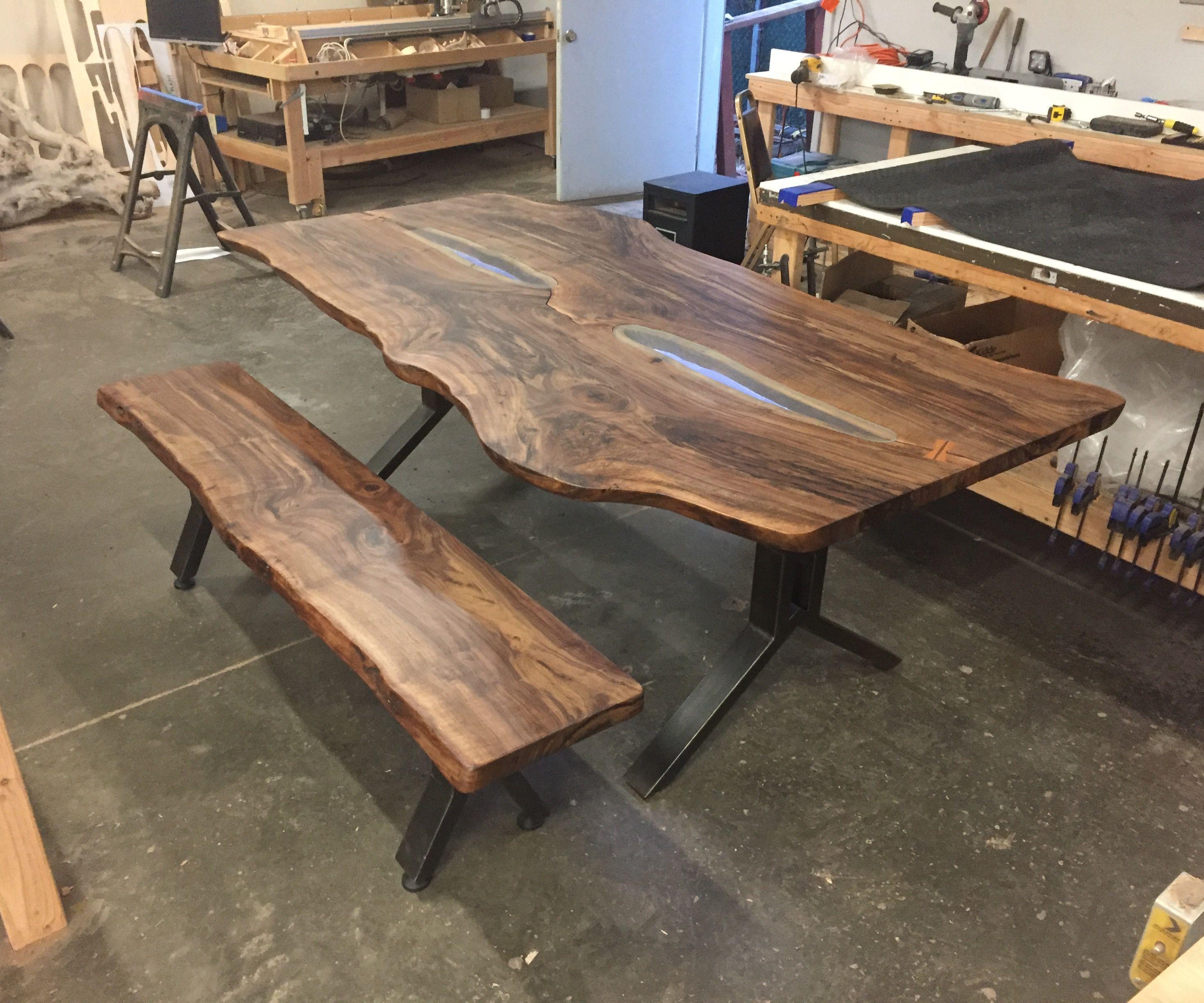 Custom Live Edge Walnut Slab Dining Set With LEDs, Glass Inlay, and Custom Steel Legs