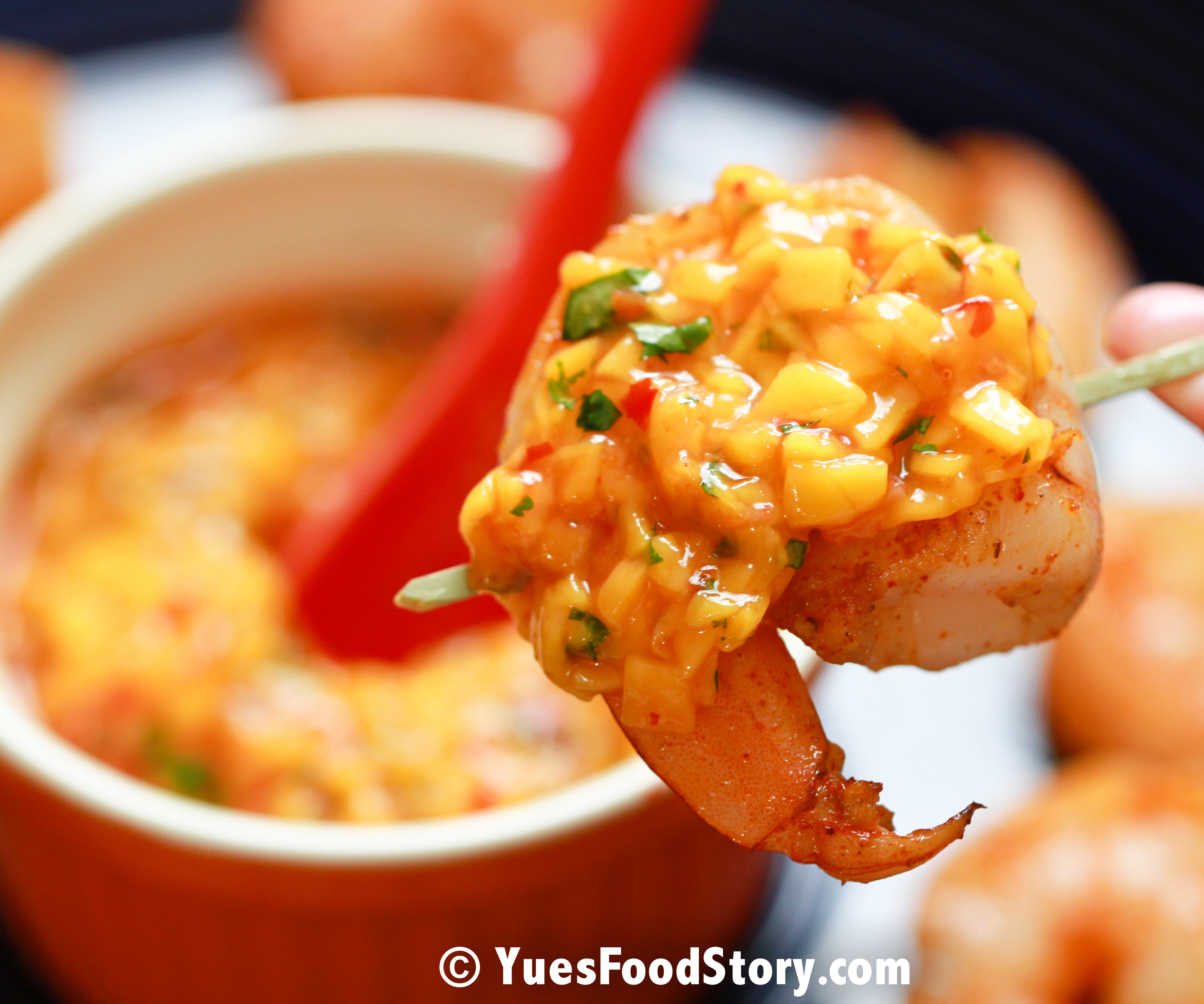 Spicy Mango Relish with Seared Shrimp